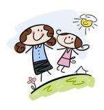 Maman et descendant heureux Image stock