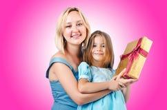 Maman et descendant heureux Images stock
