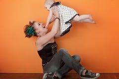 Maman et enfant heureux Images libres de droits