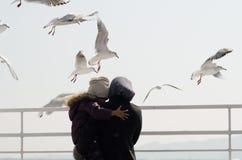 Maman et enfant parmi l'oiseau de mouette Photographie stock libre de droits