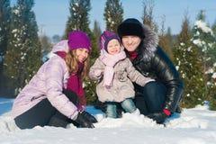 Maman et fille de papa sur un fond des arbres d'hiver et du ciel bleu, mode de vie, vacances d'hiver, amusement Photos stock