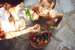 Maman et fils avec le panier plein des légumes Photographie stock libre de droits