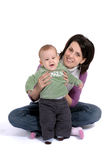 Maman et petit bébé Image stock