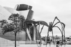 Maman at Guggenheim Museum Bilbao. BILBAO - JULY 21: Maman bronze, stainless steel, and marble sculpture by the artist Louise Bourgeois at The Guggenheim Museum Royalty Free Stock Images