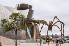 Maman at Guggenheim Museum Bilbao. BILBAO - JULY 21: Maman bronze, stainless steel, and marble sculpture by the artist Louise Bourgeois at The Guggenheim Museum Royalty Free Stock Photography