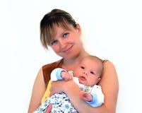 Maman heureuse avec le petit fils Image libre de droits