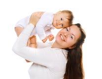 Maman heureuse et bébé ayant l'amusement Photographie stock