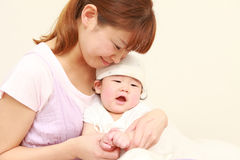 Maman japonaise et son bébé Images libres de droits
