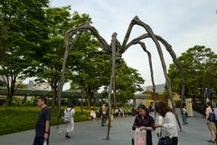 The Maman spider sculpture on display at the base of Mori Tower, outside the museum. Artwork displayed at Tokyo's Roppongi Hills stock image