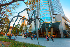 Maman - a spider sculpture at Mori tower building in Tokyo. TOKYO, JAPAN - NOVEMBER 28 2015: Maman - a spider sculpture by Louise Bourgeois, situated at the base Stock Image