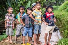 Mamasa,印度尼西亚- 2014年8月17日:摆在,微笑和看照相机的小组未认出的滑稽的孩子在国家 库存图片