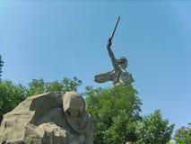 Mamayev Kurgan w Volgograd Stalingrad Zespo?u ` bohaterzy bitwa Stalingrad ` Rzeźba kraj ojczysty « fotografia stock