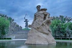 Mamayev Kurgan w Volgograd Stalingrad Zespo?u ` bohaterzy bitwa Stalingrad ` Widok od strony kwadrat fotografia stock
