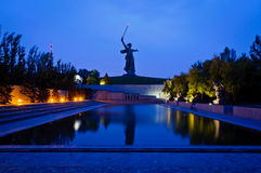 The Mamayev monument in Volgograd. The Mamayev (Motherland Calls) monument in Volgograd, Russia, at night royalty free stock images