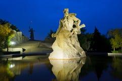 Mamayev monument, Volgograd, Russia. The Mamayev (Motherland Calls) monument in Volgograd, Russia, at night stock photo