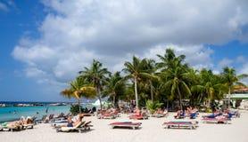 Mambo beach - sun loungers Royalty Free Stock Photos