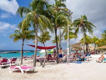 Mambo beach - sun loungers Royalty Free Stock Photo