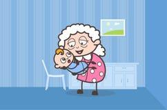 Mamie de bande dessinée jouant avec le graphique de vecteur nouveau-né mignon de petit-fils illustration libre de droits