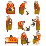 Mamie mignonne et son ensemble de chat noir, vieille dame seule et son animal familier animal dirigent l'illustration sur un fond illustration de vecteur