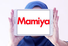Mamiya logo. Logo of camera manufacturer mamiya on samsung tablet holded by arab muslim woman Royalty Free Stock Photography