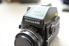 Mamiya 645 medium format film camera. Black vintage medium format camera Stock Photos