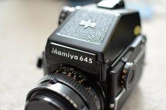 Mamiya 645 medium format film camera. Black vintage medium format camera Stock Photography