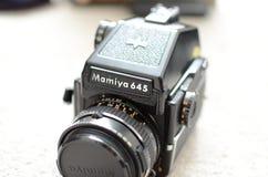 Mamiya 645 medium format film camera. Black vintage medium format camera Royalty Free Stock Image