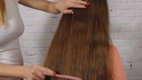 Mamma che pettina la figlia lunga dei capelli video d archivio