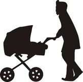 Mamma with child in carriage Royalty Free Stock Image