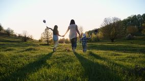 Mamma con due bambini che camminano in natura al tramonto video d archivio