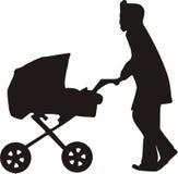 Mamma con il bambino in carrello illustrazione di stock