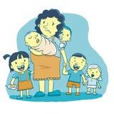 Mamma con troppi bambini Fotografia Stock