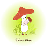 Mamma del fungo ed il suo neonato sul fondo della foresta Illustrazione del fumetto illustrazione vettoriale