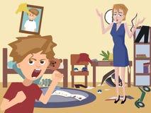 Mamma e bambino di problema alla stanza sudicia dei bambini fotografia stock