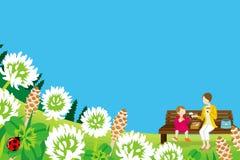 Mamma e figlia che godono del picnic nella natura di primavera - EPS10 Immagine Stock