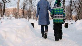 Mamma e figlio che camminano nel parco della città di inverno Vista posteriore video d archivio