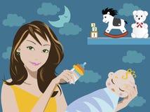 Mamma en baby royalty-vrije illustratie
