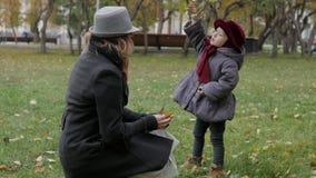 Mamma en dochter in het park die werpend bladeren spelen Stock Afbeeldingen