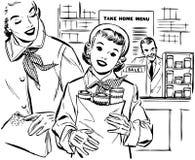 Mamma en Dochter het Winkelen royalty-vrije illustratie