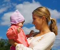 Mamma en dochter samen Stock Fotografie