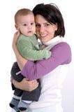Mamma en weinig babyjongen Stock Afbeelding