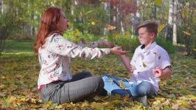 Mamma en zoonsspel in het de herfstpark Zij werpen gele bladeren Gelukkig openluchttijdverdrijf stock footage