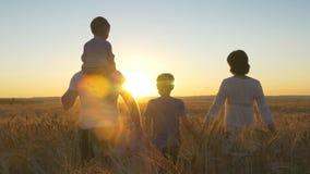 Mamma felice del padre della famiglia e due figli che camminano in un giacimento di grano e che guardano il tramonto Fotografie Stock