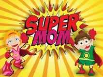Mamma felice dell'eroe eccellente di giorno di madre Immagini Stock Libere da Diritti