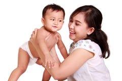 Mamma felice e bambino isolati Fotografia Stock
