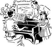 Mamma het Spelen Piano stock illustratie