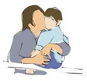 Mamma kis haar zoon vector illustratie