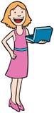 Mamma met Laptop Stock Foto's