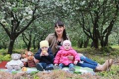 Mamma met tweelingen op plaid openlucht in appeltuin Stock Foto's