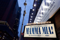 Mamma Mia on Broadway. Mamma Mia show billboard on Broadway royalty free stock images